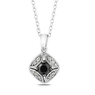 Haylee Jewels Sterling Silver 1/3ct TDW Black and White Diamond Necklace (G-H, I2-I3)