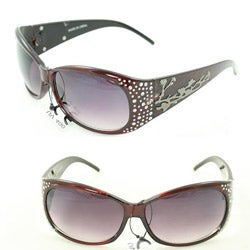 Women's P2089 Burgundy Round Sunglasses