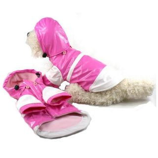 Pet Life Medium Pink and White Hooded Raincoat