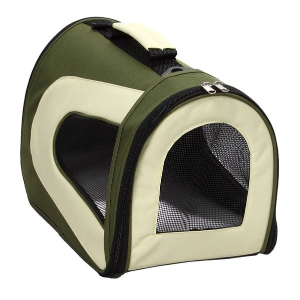 Pet Life Medium Green Mesh Pet Dog Carrier Crate