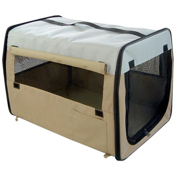 Folding Zippered Extra Small Khaki Pet Carrier