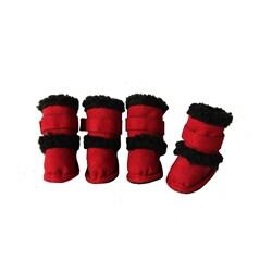 Duggz Medium Snuggly Shearling Red Pet Boots (Set of 4)