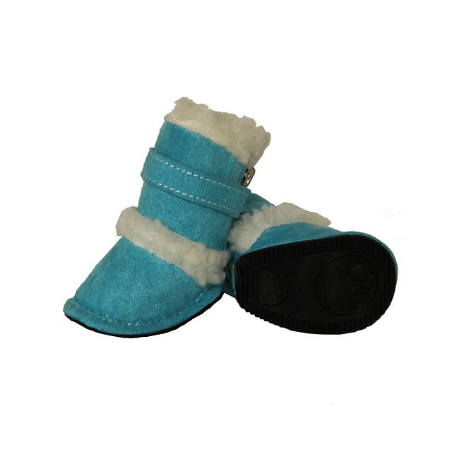 Duggz Medium Light Blue Shearling Pet Boots w/ Sherpa Trim (Set of 4)