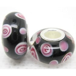 Murano Inspired Glass Pink and Black Dot Charm Beads (Set of 2)