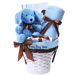 Puppy Dog Tails Blue/White Baby Gift Basket with Blanket and Album
