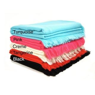 Cashmere Showroom 4-sided Feather Fringe Throw