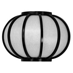 Wood 13.5-inch Harajuku Round Black Wall Sconce (China)