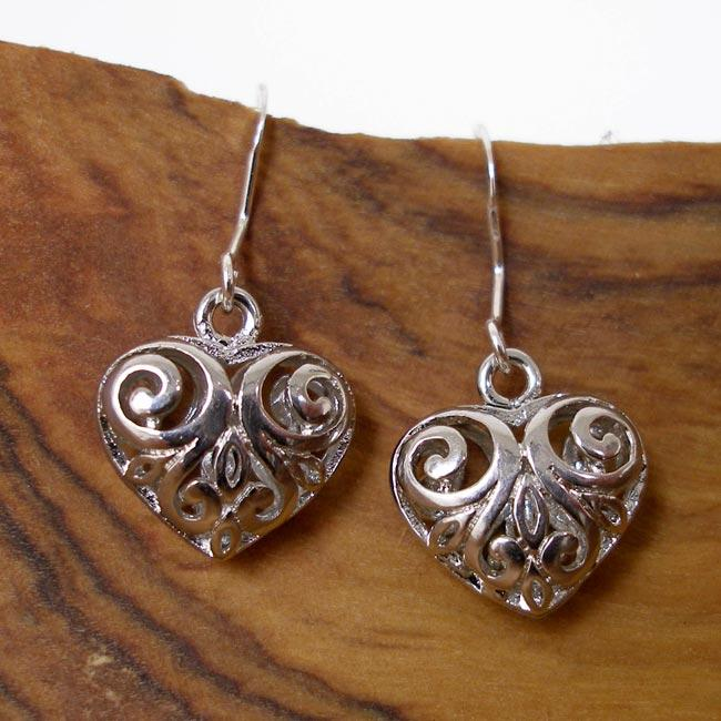 Silver Filigree Heart Earrings (China)