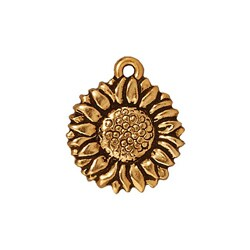 Beadaholique Goldplated Pewter Sunflower Charms (Set of 2)