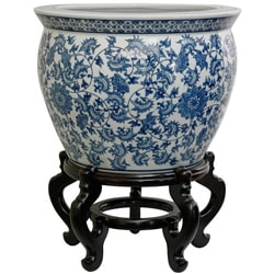 Porcelain 14-inch Blue and White Floral Fishbowl (China)