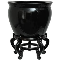 Porcelain 16-inch Solid Black Fishbowl (China)