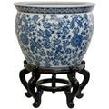 Porcelain 16-inch Blue and White Floral Fishbowl (China)