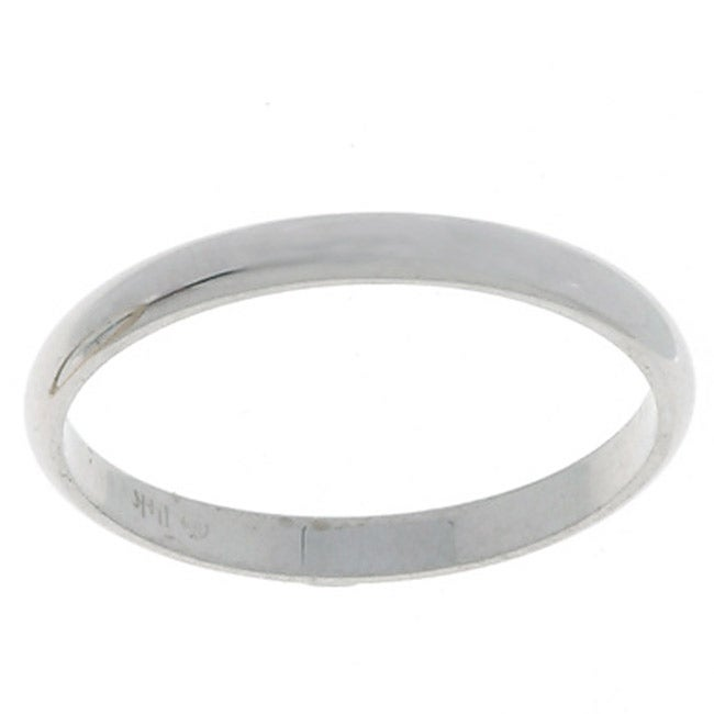 10k White Gold Men's Half-round 2-mm Wedding Band