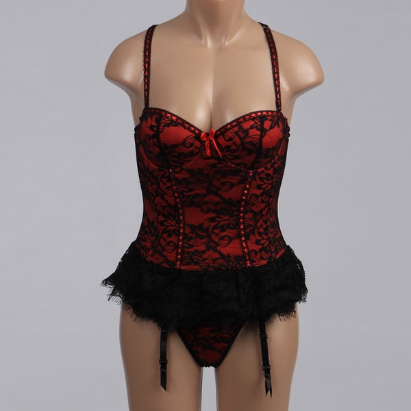 Victorian Red Lace Bustier and Thong