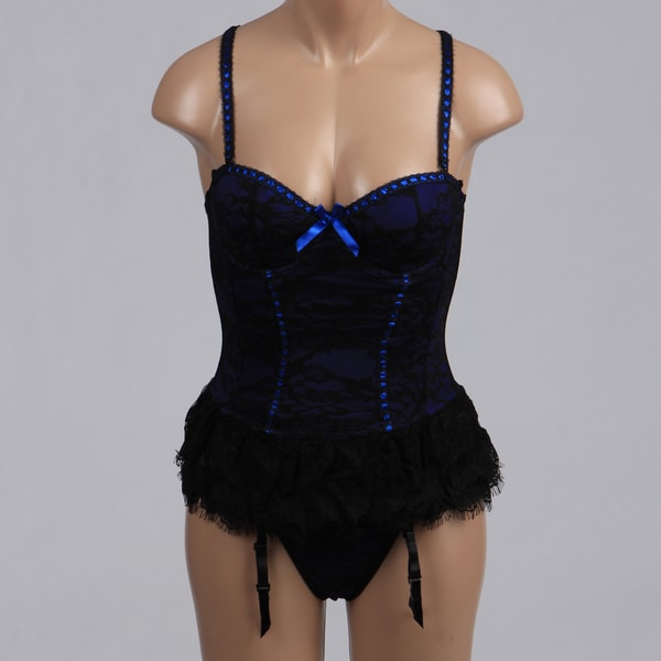 Victorian Blue Lace Bustier and Thong