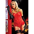 Paisley Pleasure Bustier & Thong in Red