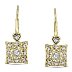 Miadora 10k Yellow Gold 1/6ct TDW Diamond Leverback Earrings (G-H, I2-I3)