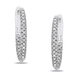 Miadora 14k White Gold 1ct TDW Diamond Hoop Earrings (G-H, I2-I3)