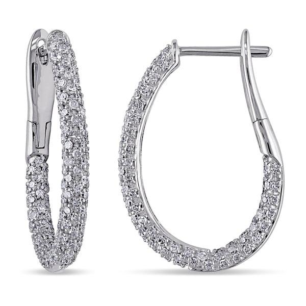 14k White Gold 1ct TDW Classic Diamond Hoop Earrings