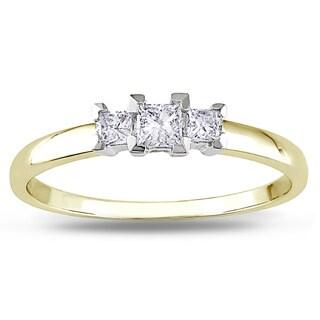 Miadora 10k Gold 1/4ct TDW Three Stone Diamond Ring (G-H, I2-I3)