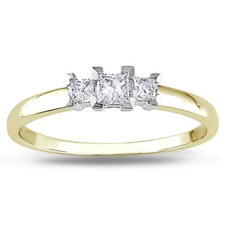 Miadora 10k Gold 1/4ct TDW Three Stone Diamond Ring (G-H, I2-I3)