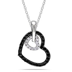 Miadora Sterling Silver 1/3ct TDW Diamond Heart Necklace (G-H, I3)