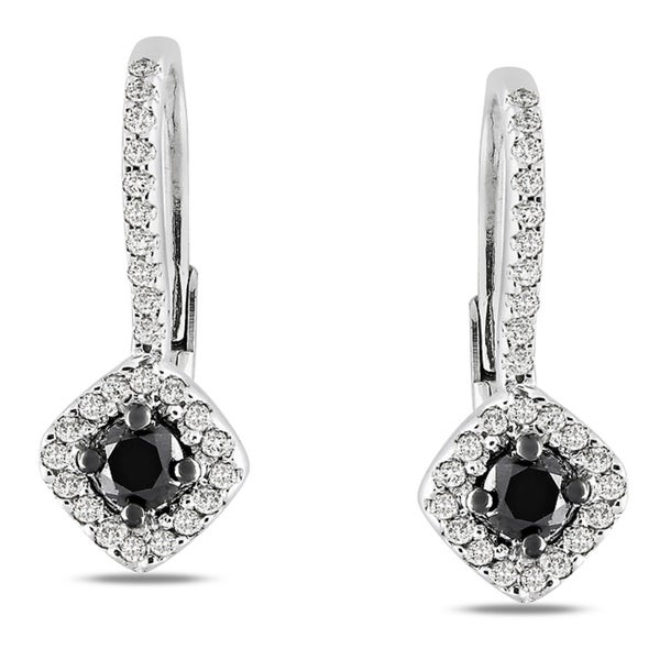Miadora Sterling Silver 1/2ct TDW Black and White Diamond Leverback Halo Earrings (G-H, I2-I3)