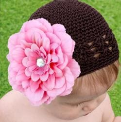 Headbandz Crocheted Baby/ Toddler Brown Kufi Hat and Pink Flower Clip