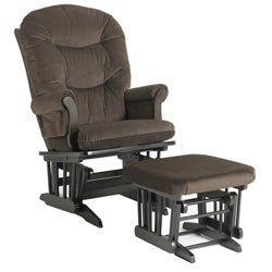 Dutailier Ultramotion Brown Microfiber Sleigh Glider Chair/ Ottoman