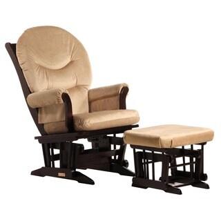 Dutailier Ultramotion Light Brown Microfiber Glider Chair/ Ottoman Set
