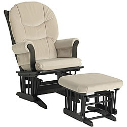 Dutailier Ultramotion Beige Microfiber Espresso-Finished Glider Chair/Ottoman Set