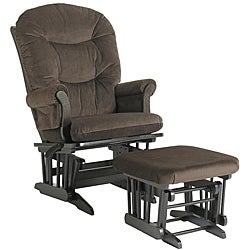 Dutailier Ultramotion Hardwood Brown Reclining Glider and Ottoman