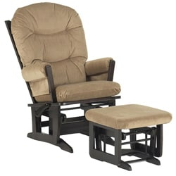 Dutailier Ultramotion Espresso Wood Glider and Ottoman