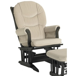 Dutailier Ultramotion Espresso Wood Glider with Removable Cushions