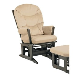 Dutailier Ultramotion Espresso Wood Glider with Microfiber-Fabric Upholstery