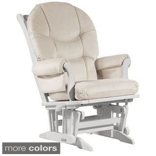Dutailier Ultramotion Wood Glider with Beige Microfiber Upholstery