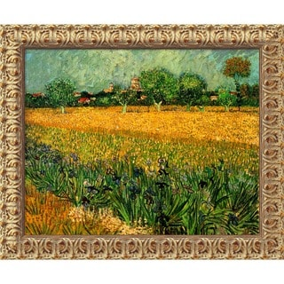 Vincent Van Gogh 'View of Arles With Irises' Framed Canvas Art
