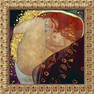 Gustav Klimt 'Danae' Contemporary Small Framed Canvas Art