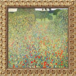 Unique Gustav Klimt 'Field of Poppies (Campo di Papaveri)' Framed Canvas Art