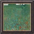 Gustav Klimt 'Field of Poppies (Campo di Papaveri)' Framed Canvas Art
