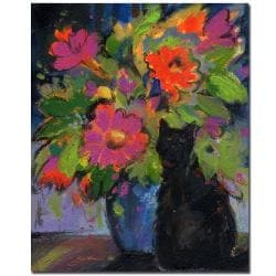 Sheila Golden 'Cat and Pink Flowers' Gallery-wrapped Canvas Art