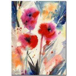Sheila Golden 'Three Bright Flowers' Gallery-wrapped Canvas Art