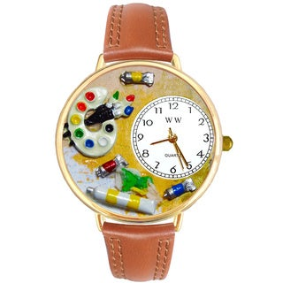 Whimsical Women's Goldtone Artist-Theme Tan Leather Watch
