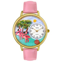 Whimsical Women's Flamingo Theme Pink Leather Watch