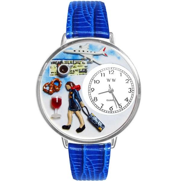 Whimsical Women's Flight Attendant Theme Royal Blue Leather Watch