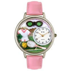 Whimsical Women's Tennis Theme Pink Leather Watch