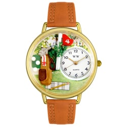Whimsical Women's Golf Theme Tan Water-Resistant Leather Watch