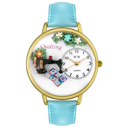 Whimsical Women's Quilting Theme Baby Blue Leather Mineral Crystal Watch