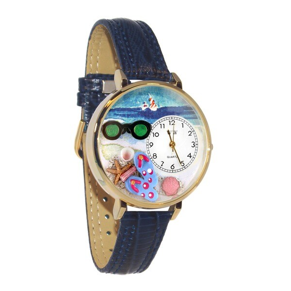 Whimsical Women's Flip-Flops Theme Navy-Blue Leather Stainless-Steel Watch