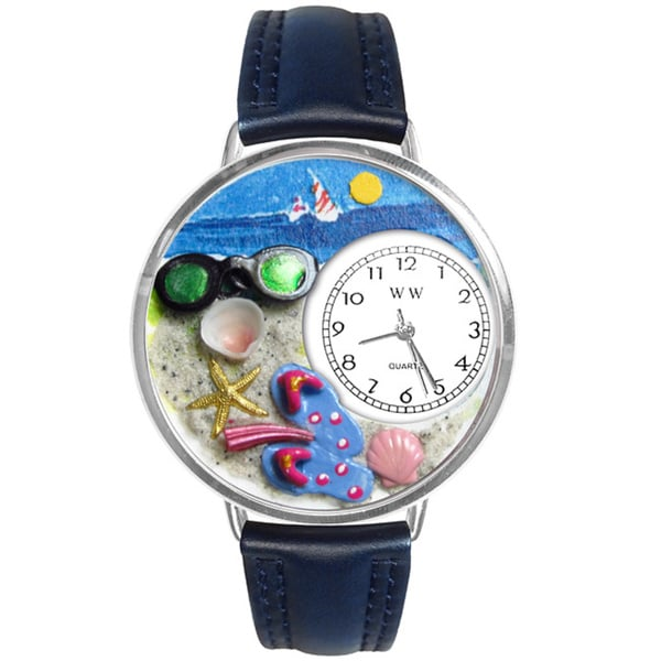 Whimsical Women's Flip-flops Theme Navy Blue Leather Watch